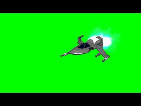 Spaceship in flight with laser gun shoots - View 1 -  green screen effects