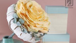 getlinkyoutube.com-Bridal bouquet one rose How to make tutorial