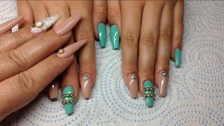 getlinkyoutube.com-Mint And Nude Infill Acrylic Nail \\ Born Pretty Store Review