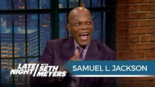 getlinkyoutube.com-Samuel L. Jackson Finds Out He's in a Feud with Donald Trump - Late Night with Seth Meyers