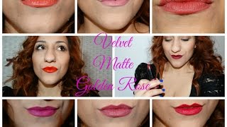 getlinkyoutube.com-Golden Rose Velvet Matte - 27 Lip Swatches + DUPES (MAC,YSL,MUFE,DIOR) | Entire Collection