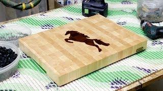 "getlinkyoutube.com-A ""Horse"" inlaid end grain cutting board"