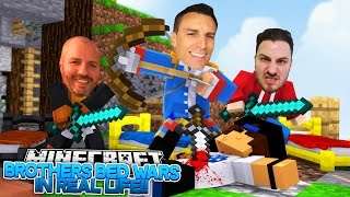REAL LIFE BROTHERS BED WARS - TRY NOT TO LAUGH!! Little Donny, RoPo & Baby Max Hypixel Games.