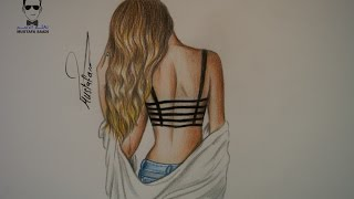 كيفية رسم فتاة مع الشعر بالرصاص والالوان الخشبية