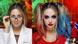 getlinkyoutube.com-Harley Quinn Suicide Squad Glam Makeup Tutorial