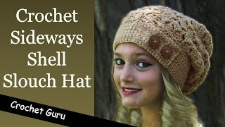 getlinkyoutube.com-How to Crochet a Slouchy Hat - Sideways Shell Slouch Hat Pattern