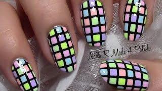 getlinkyoutube.com-Bunt Karierte Pastell Nägel / Sommer Nageldesign / Colorful Summer Nail Art Design