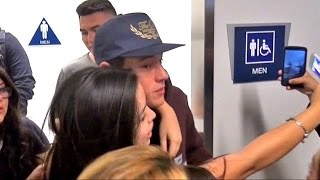 getlinkyoutube.com-Awkward! Cameron Dallas Mobbed By Fans Outside The Men's Bathroom At LAX
