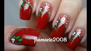 getlinkyoutube.com-Vintage Mistletoe-Christmas Nail Design