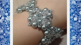 Winterglow Bracelet Beading Tutorial by HoneyBeads1 (with pearls)