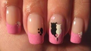 getlinkyoutube.com-Nail art: Cute cats love