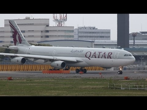 Qatar Amiri Flight Airbus A340-300 A7-AAH Takeoff from NRT 16R