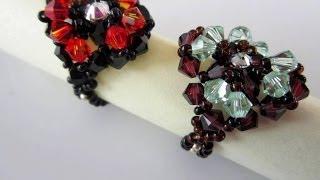 getlinkyoutube.com-Beaded Ring SW bicones. Кольцо из бисера и кристаллов