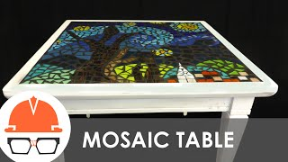getlinkyoutube.com-Reclaimed end table with starry night tile mosaic top