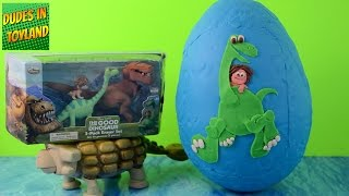 getlinkyoutube.com-The Good Dinosaur eggs GIANT toys Play Doh surprise dino playdough Disney Pixar toy