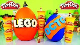 GIANT Play Doh Lego Surprise Egg Toys 10 Legos Minifigures Packs DCTC Playdough Eggs Videos