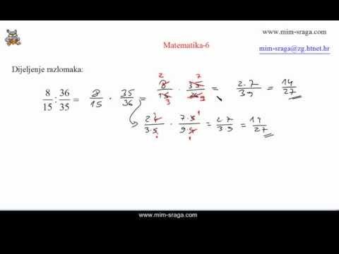 Matematika 6 dijeljenje razlomaka - zbirka potpuno riješenih zadataka za samostalno učenje