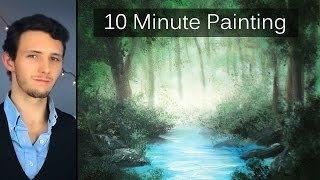 getlinkyoutube.com-Painting a Misty Forest Landscape with Acrylics in 10 Minutes!