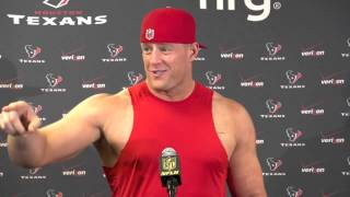 Say Watt: J.J. has fun with the media