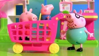 getlinkyoutube.com-Peppa Pig Fazendo Compras no Supermercado Shopkins Novelinha em Portugues Brinquedos Surpresa BR