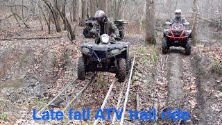 getlinkyoutube.com-Late fall ATV trail ride, mud, steep hill climbs & sketchy bridge crossing