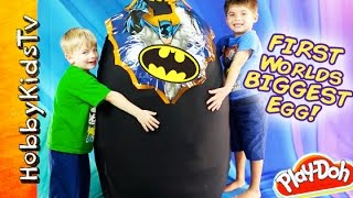 getlinkyoutube.com-WORLDS FIRST BIGGEST SURPRISE EGG! Toys Inside BATMAN SuperHero Toys by HobbyKidsTV