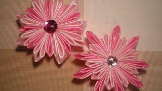 getlinkyoutube.com-Цветок Канзаши из атласных лент видео Мастер класс /Ribbon Flower / DIY Kanzashi