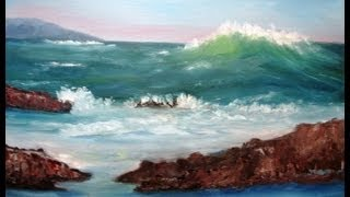 "February 20, 2013 Oil Painting - ""Big Wave Coming"" Full Version for Class"