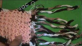 getlinkyoutube.com-2 DE 2 COMO TEJER BUFANDA TRIDIMENSIONAL DECORADA GANCHILLO CROCHET