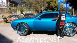 "getlinkyoutube.com-AceWhips.NET- Vick's Candy Teal Challenger R/T on 30"" DUB Swyrl Floaters"