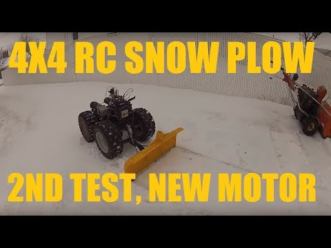 Homemade RC 4x4 Snow Plow 2nd test with new motor