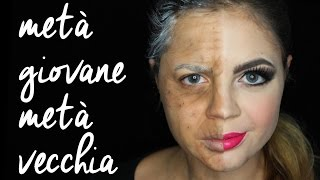 getlinkyoutube.com-VECCHIA PER METÀ • halloween half-face makeup