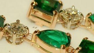 getlinkyoutube.com-Emeralds and diamonds handmade 18k red gold earrings