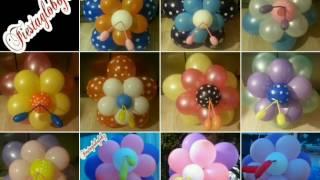 getlinkyoutube.com-Flor fantasía de diferentes colores y estilos con globos