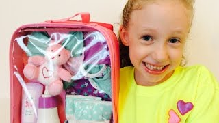 getlinkyoutube.com-Baby Doll Travel Suitcase and Accessories with Bitty Baby American Girl Doll Toy Review for Kids! :)