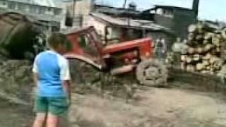 getlinkyoutube.com-Russian tractor  broken in half :))))
