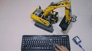 getlinkyoutube.com-PC Keyboard Full RC LEGO Power Functions 8043 Motorized Excavator by Arduino and Processing