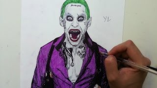 getlinkyoutube.com-Drawing the joker with  ballpoint pen - jared leto | suicide squad