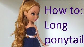getlinkyoutube.com-Doll Hair Tutorial: Long Ariana Grande ponytail on Ever After High dolls by EahBoy