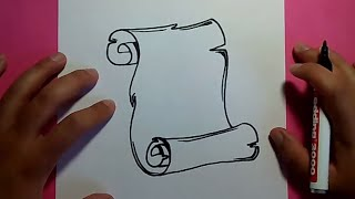getlinkyoutube.com-Como dibujar un pergamino paso a paso 3 | How to draw a scroll 3