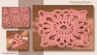 getlinkyoutube.com-Crochet Small Square Motif Tutorial 4 Part 1 of 2 Joining Crochet Motifs