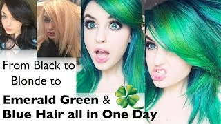 getlinkyoutube.com-Black to Blonde to Green Blue Hair in One Day