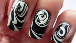 getlinkyoutube.com-Water Marble For Short Nails, Black & White Swirl Nail Art Design Tutorial HowTo HD Video
