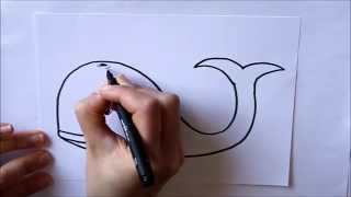 Cómo dibujar una ballena Dibuja Conmigo Dibujos de Animales