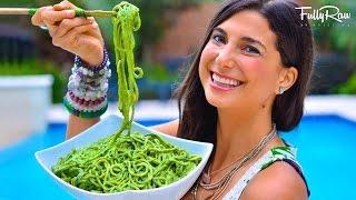 getlinkyoutube.com-FullyRaw Pasta with Avocado Basil Pesto!