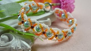 getlinkyoutube.com-How Do You Make a Criss Cross Beaded Bracelet with Seed Beads and Pearls