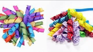 getlinkyoutube.com-Episodio 530- Cómo hacer moños con banda para el pelo con cintas rizadas korker