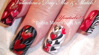 getlinkyoutube.com-5 Valentine Nail Art Designs | Red Hearts & Zebra Print Nails Tutorial
