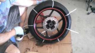 getlinkyoutube.com-Motorcycle Tire Removal from Rim - Zip Tie Method- 2007 ZX6R - HOW TO / TUTORIAL