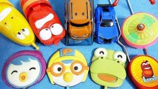 getlinkyoutube.com-뽀로로 롤리팝 출동 또봇 카 X Y 폭탄 라바 & 롤러코스터 요요 장난감  Pororo Tobot Larva toys